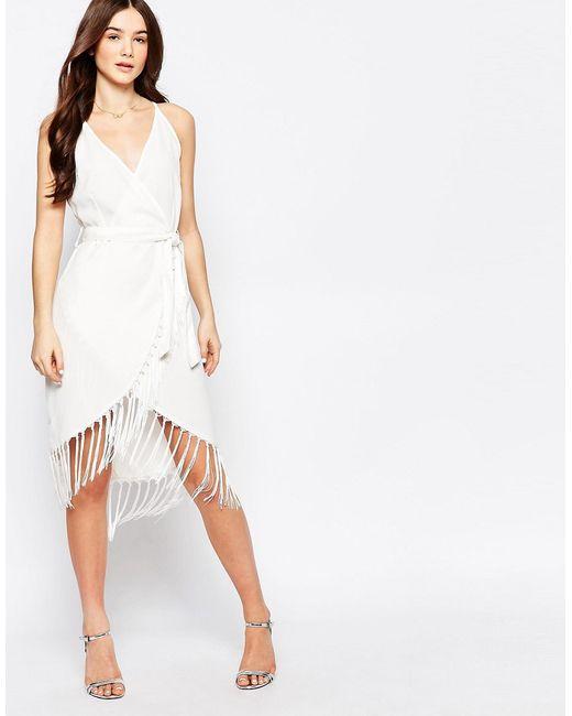 Glamorous | Женское Кремовое Платье С Бахромой По Подолу
