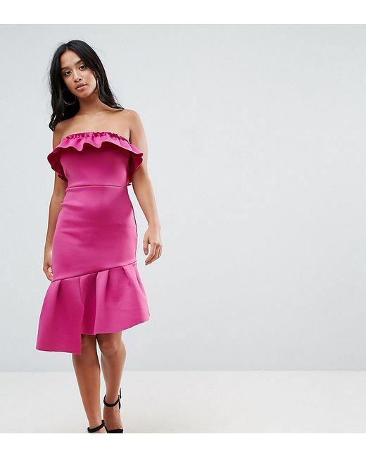 e24729080fd Женское Розовое Облегающее Платье Бандо С Оборкой ASOS PETITE 6638395