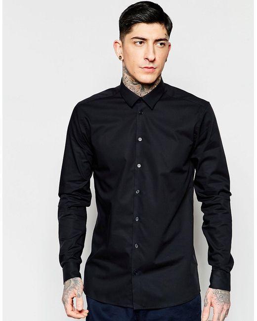 Minimum | Мужская Чёрная Строгая Черная Рубашка Узкого Кроя Из Эластичного