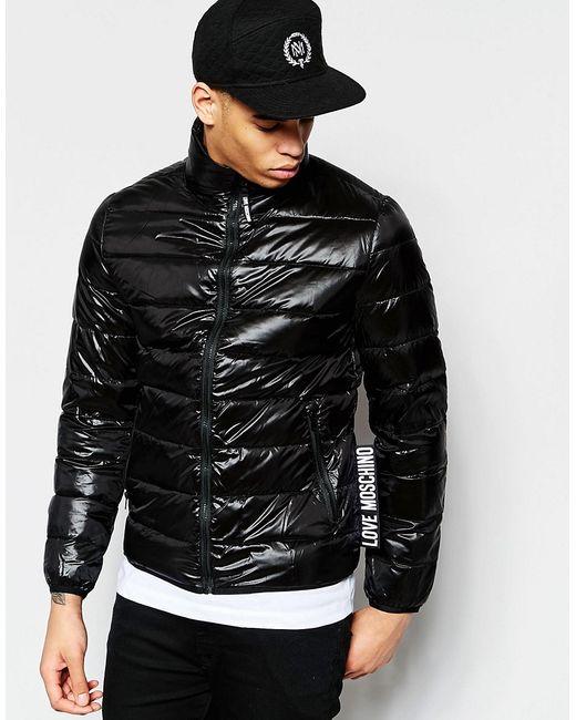 Love Moschino | Мужская Чёрная Дутая Куртка С Логотипом