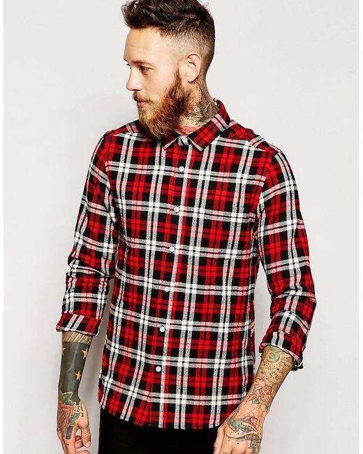 Asos | Мужская Красная Рубашка В Клетку С Длинными Рукавами
