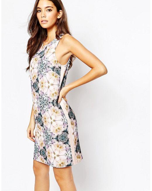 Ted Baker | Женское Розовое Цельнокройное Платье С Цветочным Принтом Illidia