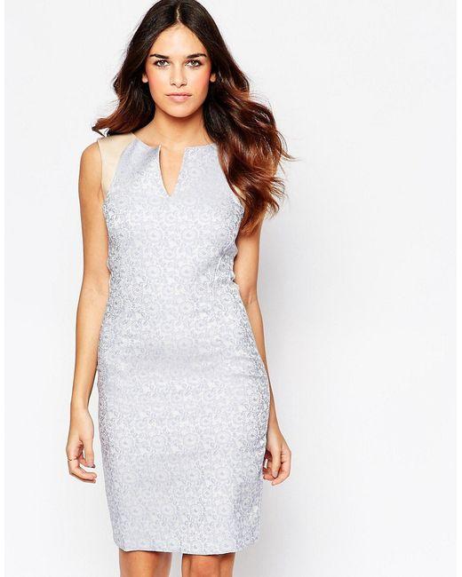 Hybrid | Женское Голубое Жаккардовое Платье С Отделкой Искусственной Кожей Kirsty