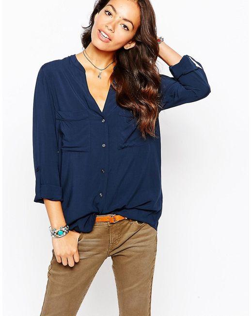 Esprit | Женская Синяя Рубашка С Карманами Спереди