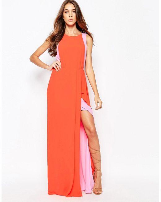 BCBGMAXAZRIA | Женское Комбинированный Крас Платье Макси С Контрастными Рюшами