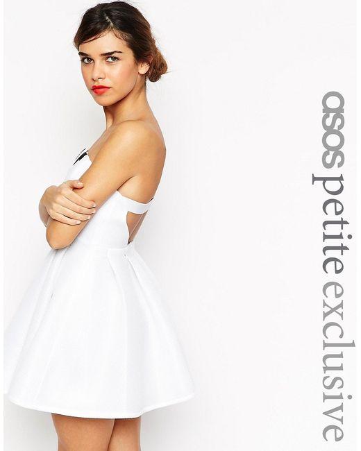 ASOS PETITE | Белое Платье-Бандо С Вышивкой