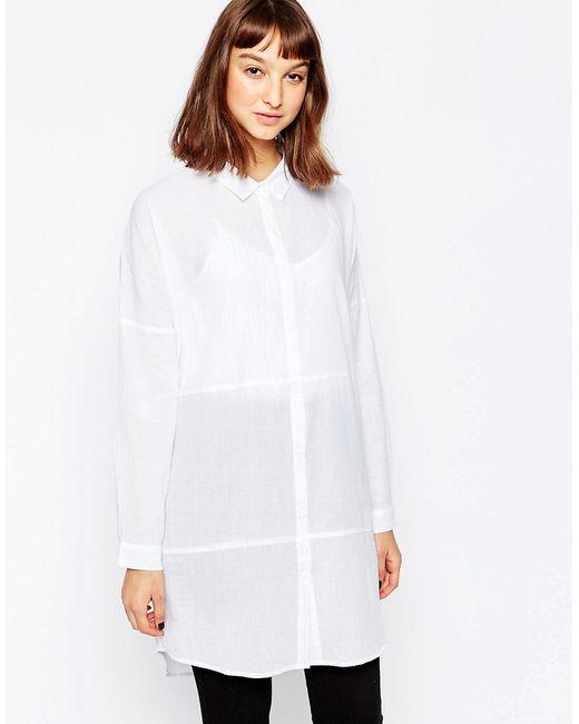 Minimum   Женская Белая Удлиненная Рубашка Без Воротника 000 Белый