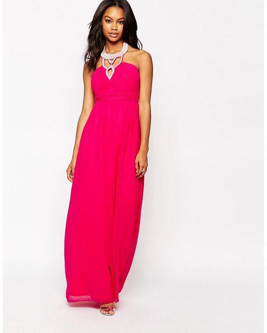 Little Mistress | Розовое Платье Макси С Отделкой На Кокетке