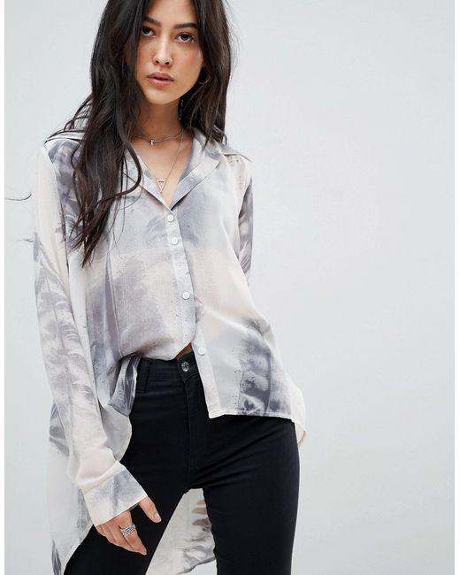 846efdcb590 Женская Белая Асимметричная Рубашка С Принтом Religion 7290704