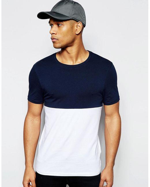 Asos | Мужская Белая Облегающая Футболка С Контрастной Синей Кокеткой