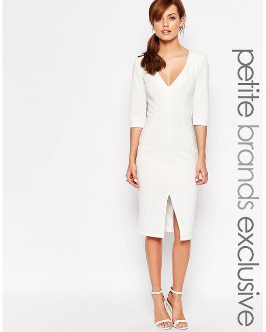 John Zack Petite | Белое Облегающее Платье С Глубоким Декольте И Разрезом