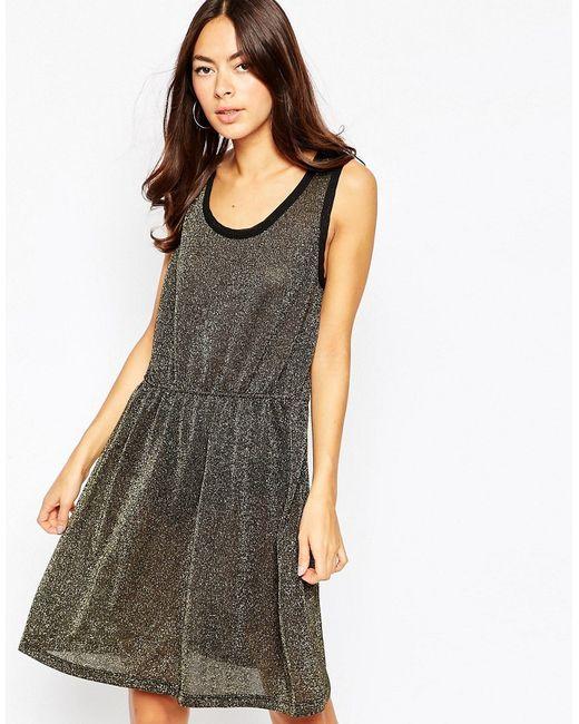 Vila | Женское Чёрное Платье С Блестками