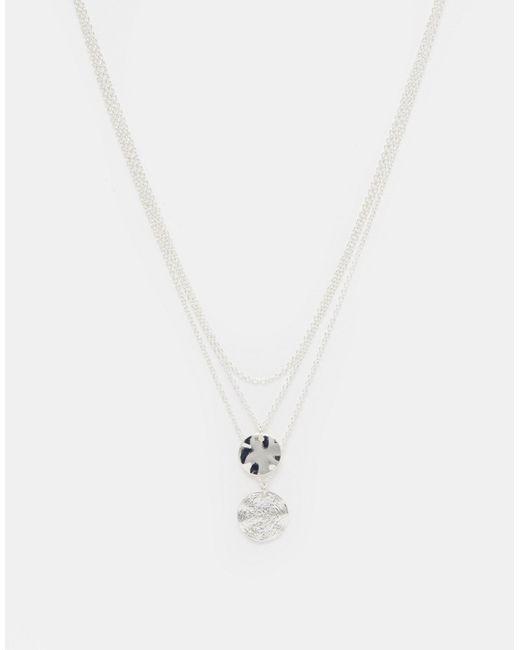 Asos | Серебряное Многоярусное Ожерелье С Монетками Серебряный