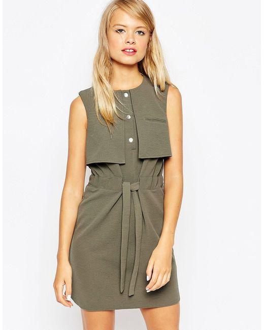 Asos | Женское Хаки Цельнокройное Платье С Накладкой И Завязкой На