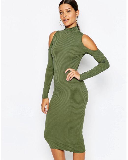 Club L | Женское Хаки Платье В Рубчик С Высоким Воротом И