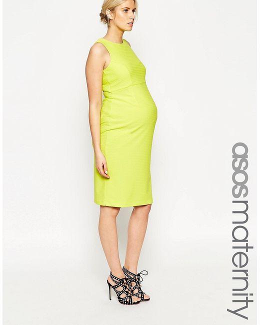 ASOS Maternity   Женское Лайм Фактурное Облегающее Платье С Вырезом На Спине
