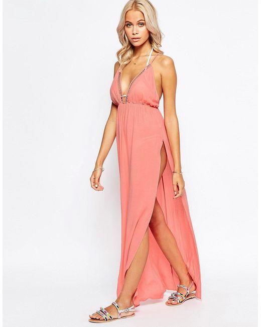 Asos | Женское Розовое Пляжное Платье Макси С V-Образным Вырезом И