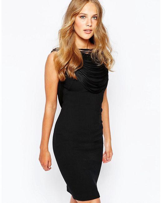 Ba&Sh | Женское Чёрное Платье С Бахромой Сзади Clapton Черный