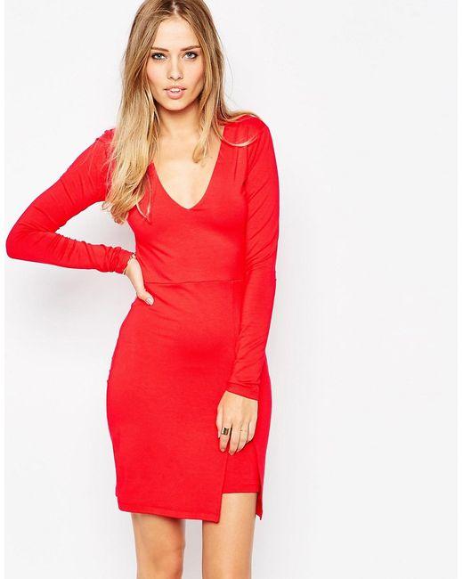 Asos | Женское Красное Облегающее Платье С Асимметричным Подолом