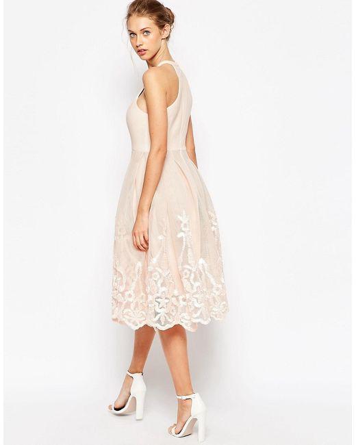 Asos | Женское Голубое Пышное Сетчатое Платье С Цветочной Вышивкой