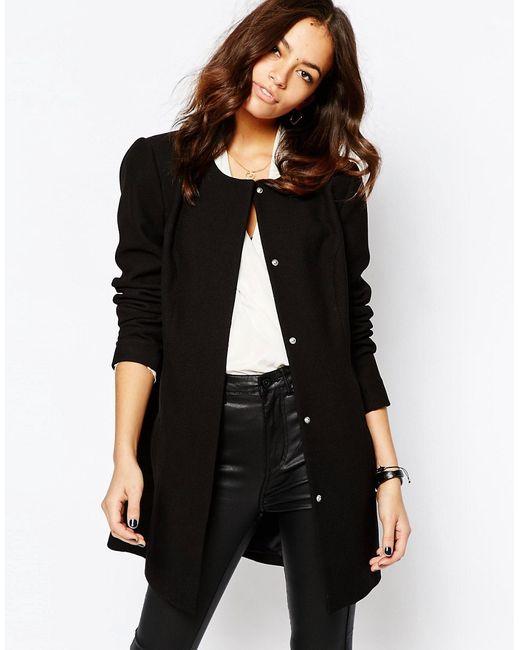JDY | Женское Чёрное Пальто Без Воротника J.D.Y