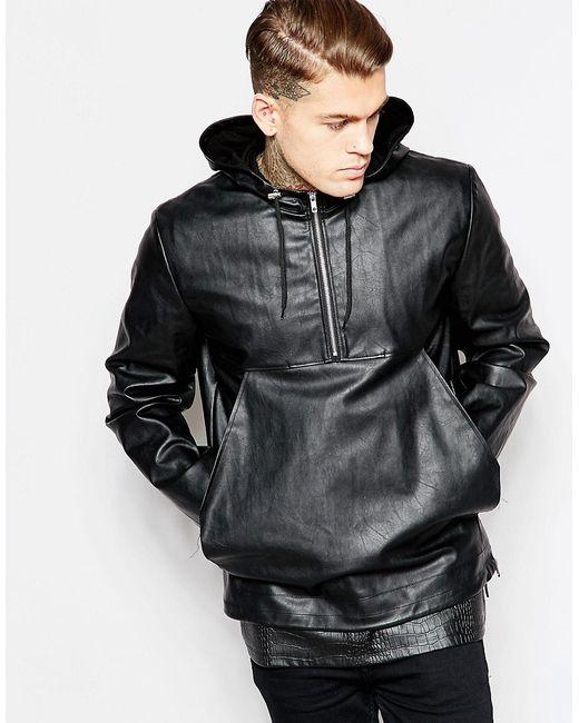 Asos | Женская Чёрная Куртка Из Искусственной Кожи С Капюшоном