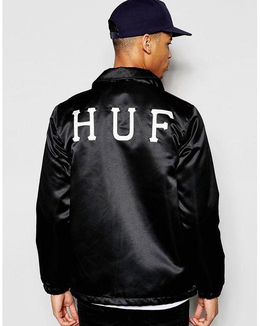 Huf | Мужская Чёрная Спортивная Куртка С Принтом На Спине