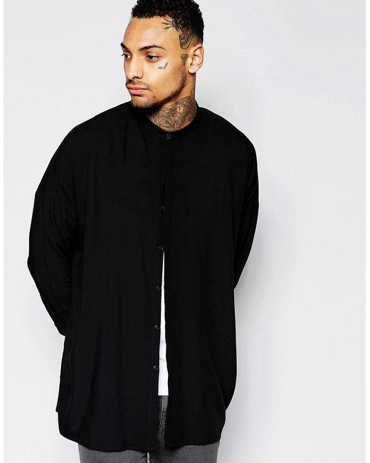 Asos | Чёрная Oversize-Рубашка С Заниженными Плечевыми Швами И Воротником