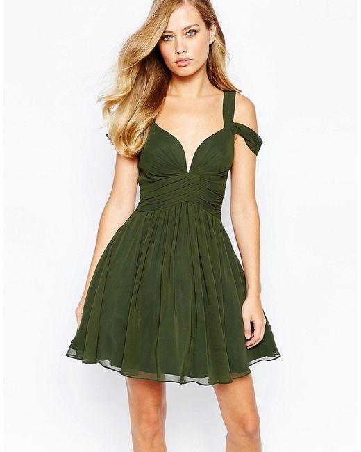 FOREVER UNIQUE | Женское Зелёное Платье Мини С Вырезом Сердечком