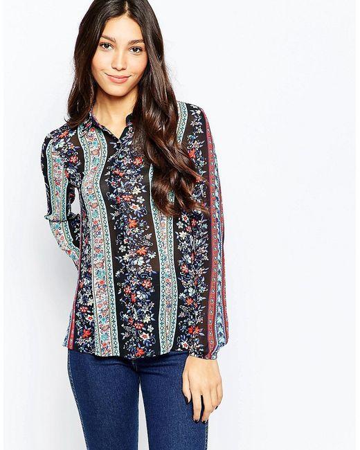 Style London | Женская Многоцветная Рубашка С Цветочным Принтом В Полоску