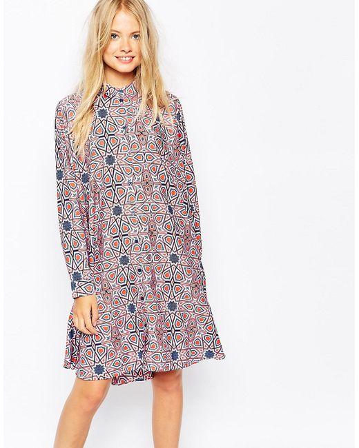 Monki | Многоцветное Платье-Рубашка С Принтом