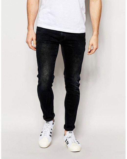 Pepe Jeans London | Мужские Синие Сине-Черные Джинсы Скинни С Эффектом Кислотной Стирки