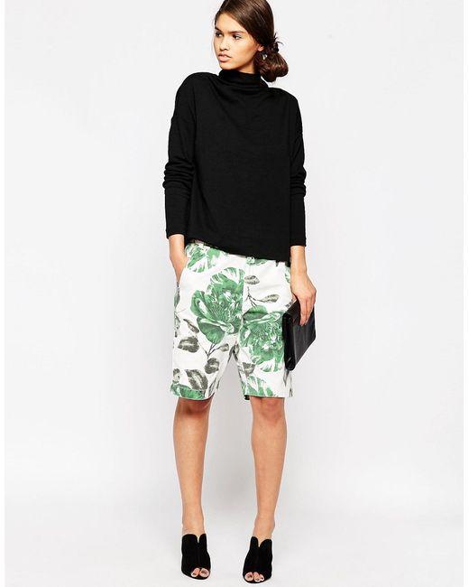 Ganni | Женские Juniper Flower Зеленые Холщовые Шорты С Цветочным Принтом Huntington