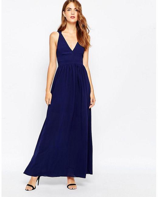 Adelyn Rae | Женское Синее Платье Макси С Глубоким Вырезом Темно-Синий