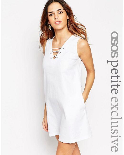 ASOS PETITE | Женское Чёрное Цельнокройное Платье С Vобразным Вырезом И Шнуровкой