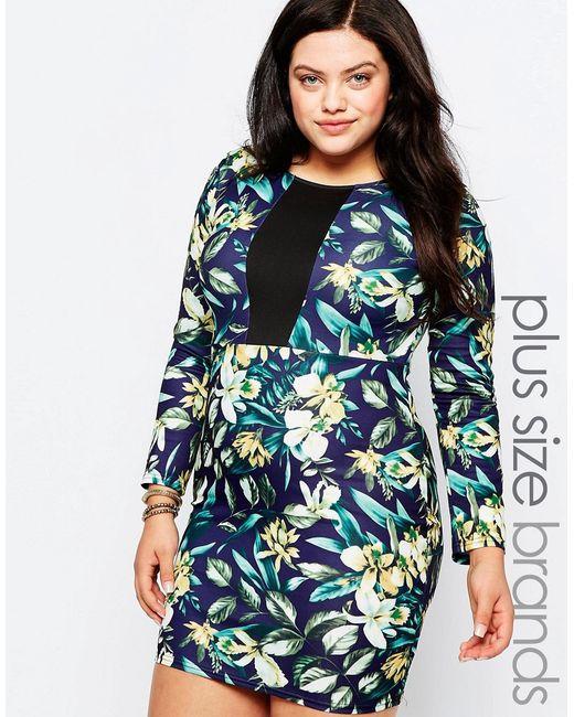 Praslin | Цветочное Платье-Футляр С Цветочным Принтом И Контрастной Вставкой