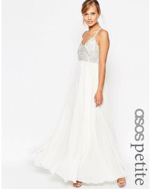 ASOS PETITE | Женское Белое Платье Макси С Бретельками И Декоративной Отделкой