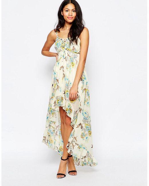 Mela Loves London | Женское Кремовое Платье Макси С Принтом Птиц