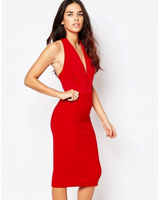 Hedonia | Женское Красное Облегающее Платье Миди Savannah