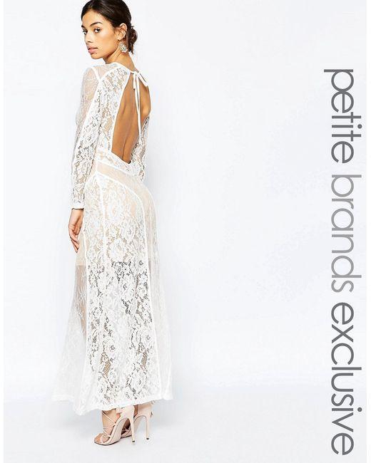 True Decadence Petite | Женское Белое Кружевное Платье Макси С Открытой Спиной Premium
