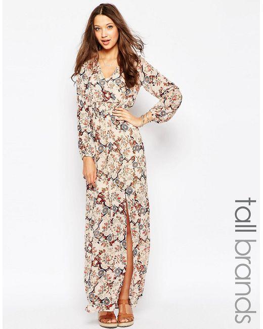 Glamorous Tall   Женское Многоцветное Платье Макси С Запахом Спереди И Цветочным