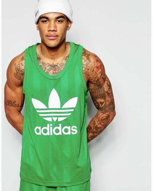adidas Originals | Мужская Зелёная Майка В Стиле Ретро Aj6912