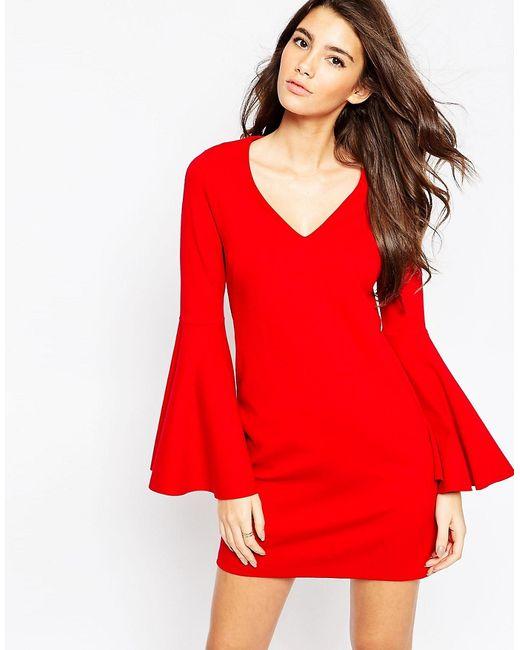 Asos   Красное Цельнокройное Платье С Расклешенными Рукавами