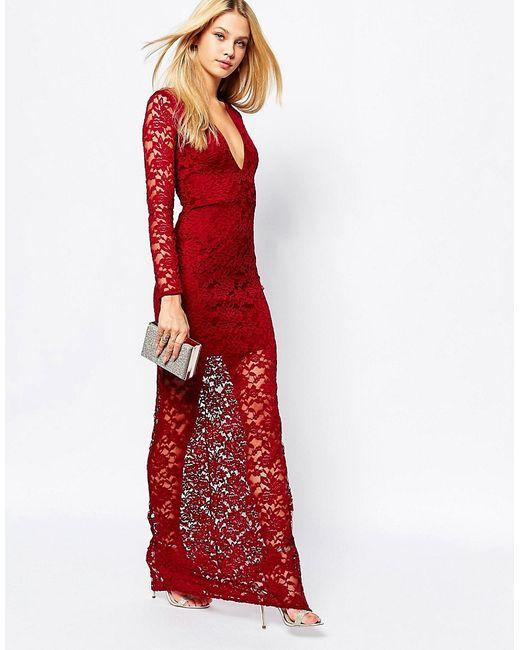 MISSGUIDED   Женское Burgundy Кружевное Платье Макси