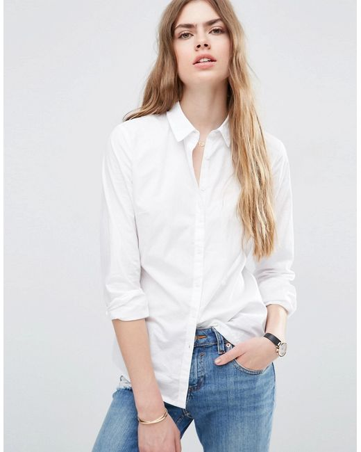 Asos | Женская Белая Приталенная Рубашка Белый