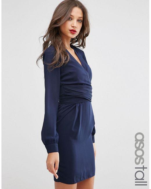 ASOS TALL | Синее Платье-Тюльпан С Поясом
