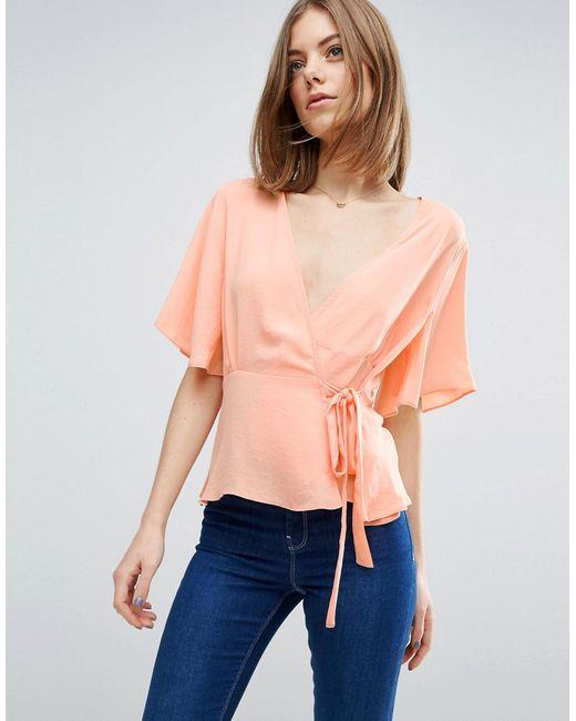 Asos | Розовая Блузка С Запахом Спереди Розовый