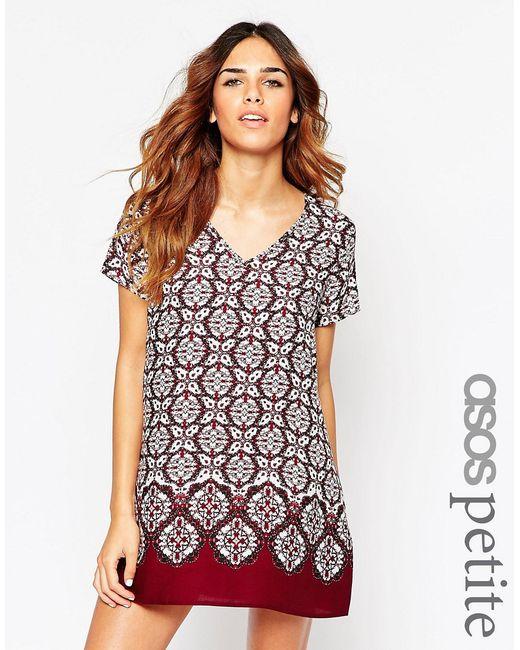 ASOS PETITE | Платье-Футболка С V-Образным Вырезом И Принтом
