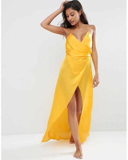 Asos | Жёлтое Атласное Платье-Сорочка Макси Желтый