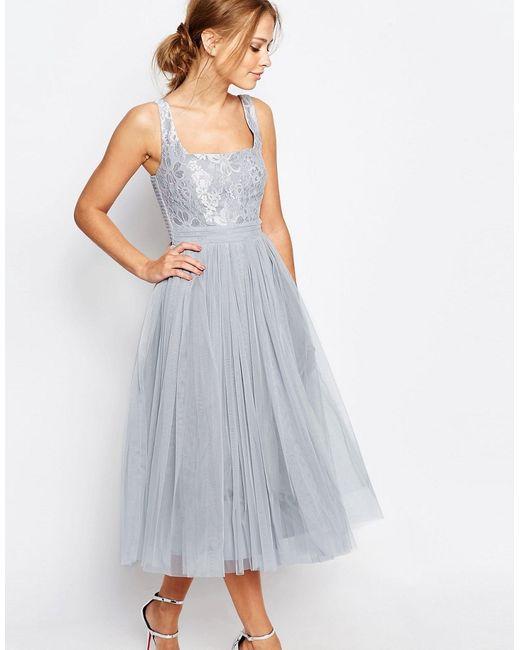 Little Mistress | Женское Серое Платье Миди Из Тюля С Кружевом Серебристо-Серый